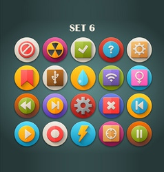 Round bright icons with long shadow set 6 vector