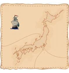 Stylised old japan map vector