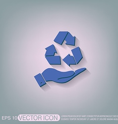Hand holding recycle symbol vector