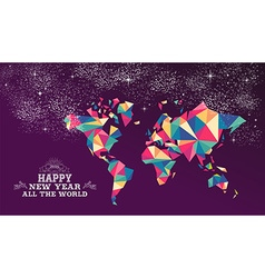Happy new year 2016 world triangle hipster color vector