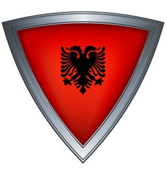 Steel shield with flag albania vector
