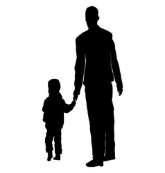 Child walking with his fathers hand vector