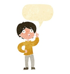 Cartoon boy with idea with speech bubble vector