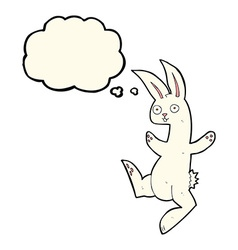 Funny cartoon white rabbit with thought bubble vector