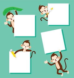 Monkey with blank sign set vector