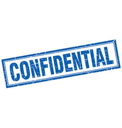 Confidential blue square grunge stamp on white vector