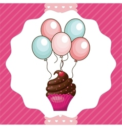 Cupcake and balloons icon happy birthday design vector
