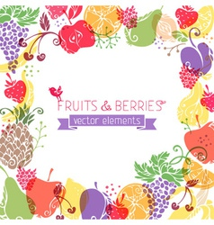 background of fruits and berries on white vector image vector image