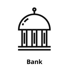 bank thin line icon vector image vector image
