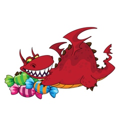 Big dragon with sweets vector