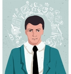 Businessman portrait - thinking man in suit with vector image