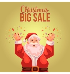 Christmas sale banner with cartoon half length vector