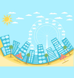 city landscape with beach a resort town vector image