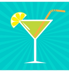 Cocktail in martini glass Sunburst background vector image vector image