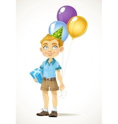 Cute little boy with a birthday gift and balloons vector image