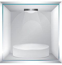 empty glass showcase for exhibit vector image