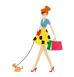 fashion woman walking with dog and shopping bags vector image