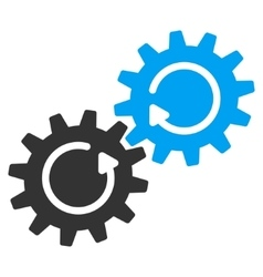 Gear mechanism rotation flat icon vector