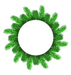 Green fir circle frame vector