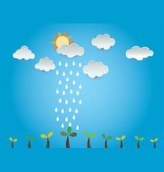 Growth tree cloud rain ideas design vector