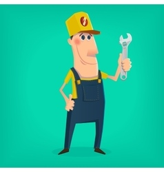 Hand drawn mechanic character vector