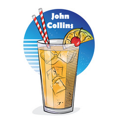 Hand drawn of cocktail john collins vector