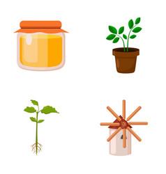 Honey bank plant millfarm set collection icons vector