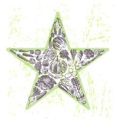 ink hand drawn veggies star vector image