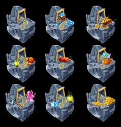 Isometric mining game islands collection vector