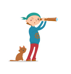 Little boy playing pirates with cat and telescope vector