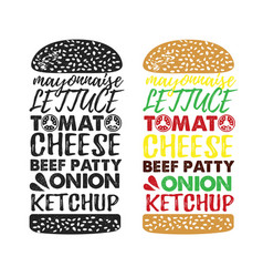 Poster lettering burger hand drawn typography vector