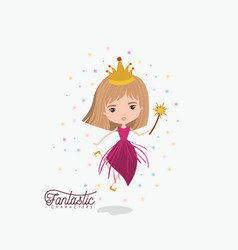 princess fairy fantastic character with crown and vector image