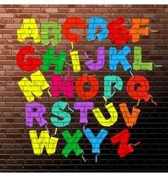 Roller brush font set vector