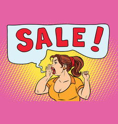sale pop art woman screaming vector image vector image