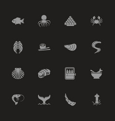 Sea food - flat icons vector