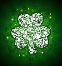 st patricks days card of white objects on shine vector image