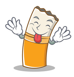 Tongue out cigarette character cartoon style vector