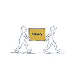 two courier man carry box delivery service doodle vector image vector image
