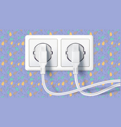 Two white plug inserted in a wall socket on vector