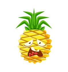vexed pineapple face cute cartoon emoji character vector image