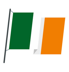 waving flag of ireland icon isolated vector image vector image
