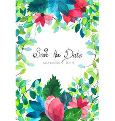 Wedding card with flowers watercolor vector