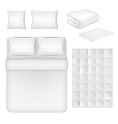 white blank bedding realistic template set vector image