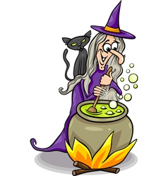 witch casting a spell cartoon vector image
