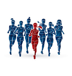 Women running marathon runners group of people vector