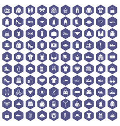 100 sewing icons hexagon purple vector