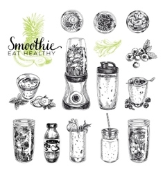 Smoothie set healthy foods vector