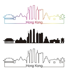 Hong kong v2 skyline linear style with rainbow vector