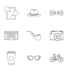 Subculture hipsters icons set outline style vector