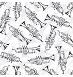 Black and white seamless pattern with trumpets vector